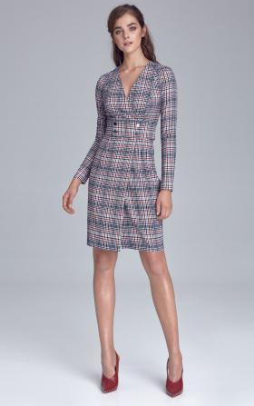 Sukienka z pasem ozdobionym napami - krata/pepitko
