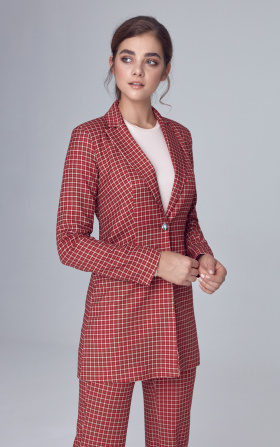 Lengthened jacket - checkered/claret