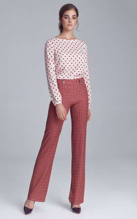 Suit trousers with fastener - checkered/claret