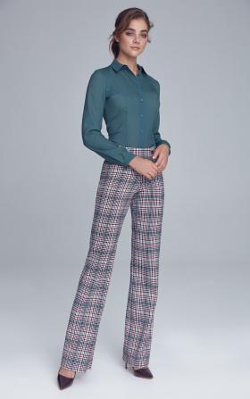 Spodnie garniturowe z napami - krata/pepitko