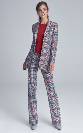 Suit trousers with fastener - checkered/pepito