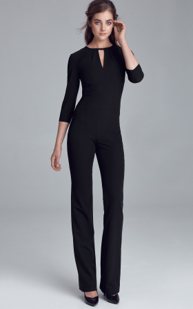 Jumpsuit with crack on the neckline - black