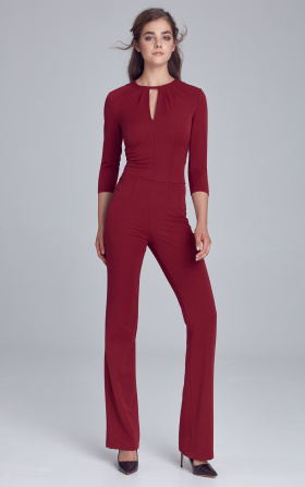 Jumpsuit with crack on the neckline - claret