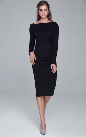 Knitted dress with turtleneck - black