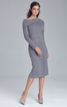 Knitted dress with turtleneck - gray