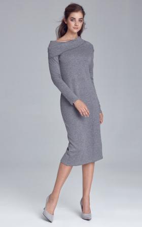 Dzianinowa szara sukienka z golfem