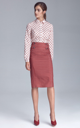 Pencil skirt with naps - checkered/claret