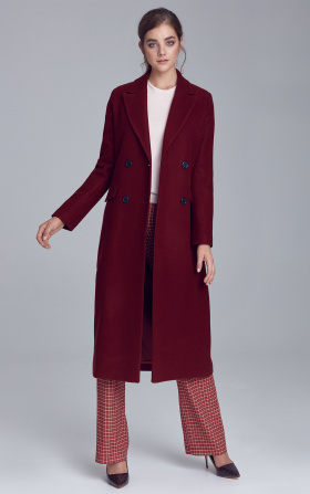 Double-row buttoned coat - claret