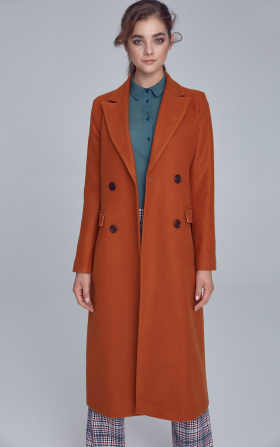 Double-row buttoned coat - honey