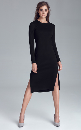 Knitted dress with side slits - black