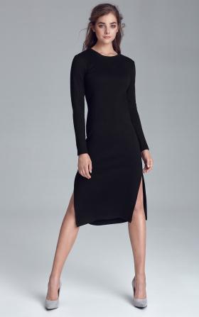 Czarna sukienka dzianinowa z rozcięciami