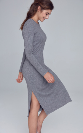 Knitted dress with side slits - gray