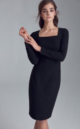 Dress with caro neckline - black