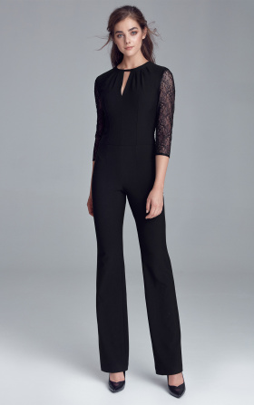 Jumpsuit with lacy back - black