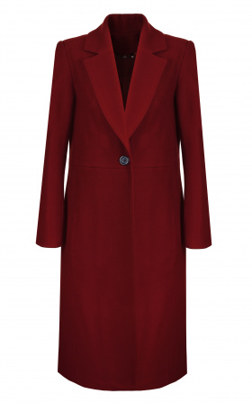 Single-row buttoned coat - claret