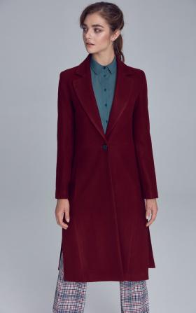 Płaszcz jednorzędowy - bordo