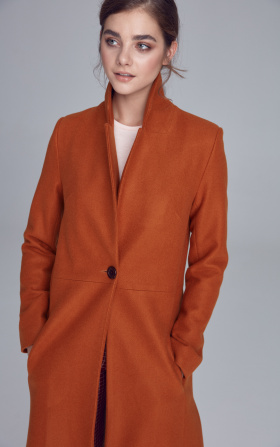 Single-row buttoned coat - honey