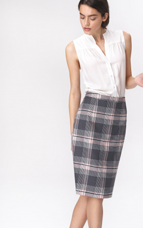 Pencil checkered skirt - gray