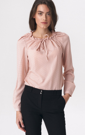 Pinky blouse with girlish tie