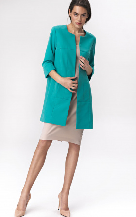 Turquoise long jacket for woman