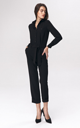 Black jumpsuit with tie