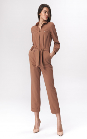 Caramel jumpsuit with tie