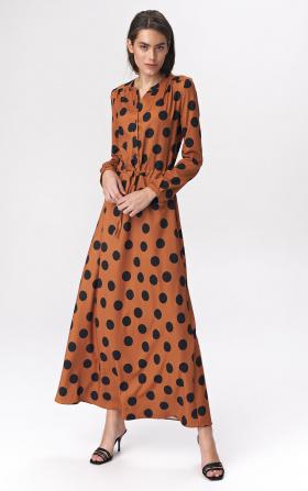 Brązowa sukienka maxi w grochy