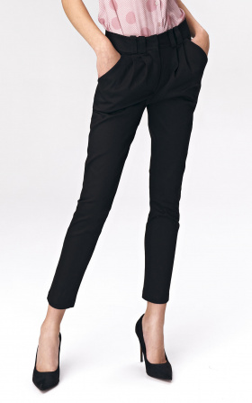 Fitted womens trousers - black
