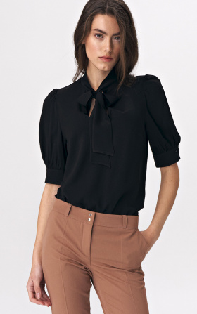 Elegant black blouse with a tie on the neckline