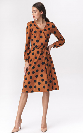 Brown flared dress with polka dots pattern