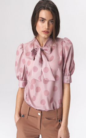 Pink blouse with a tie on the neckline - peas