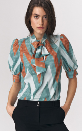 Turquoise blouse with a tie on the neckline - zigzag pattern