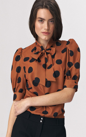 Brown blouse with a tie on the neckline - peas pattern