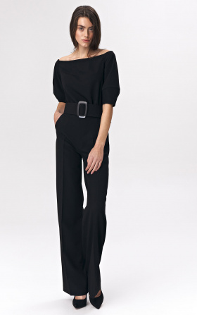 Black jumpsuit with a belt