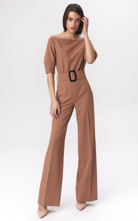 Caramel jumpsuit with a belt