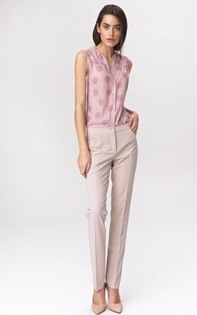 Jasnobeżowe klasyczne spodnie damskie