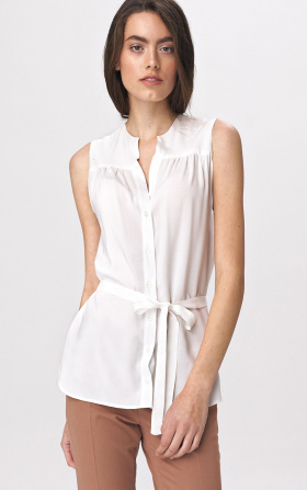 Lovely sleeveless blouse - ecru