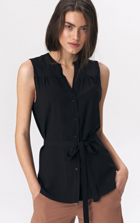 Lovely sleeveless blouse - black