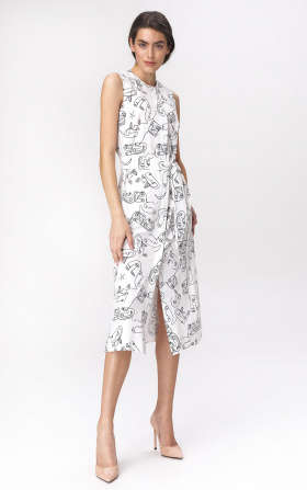 Midi dress with a slit - faces pattern