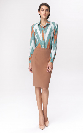 Pencil skirt with decorative zipper - caramel