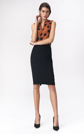 Pencil skirt with decorative zipper - black