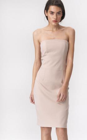 Beige dress in tube fashion