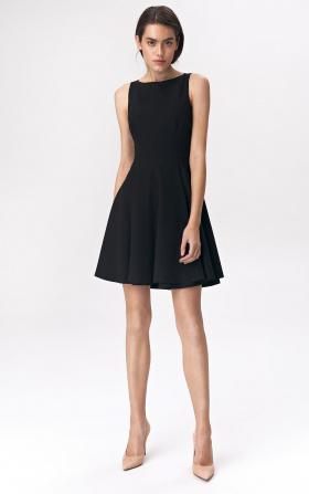 Flared black dress mini