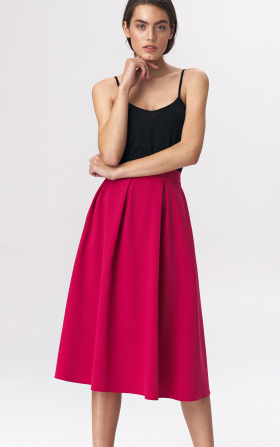 Flared skirt midi - fuchsia