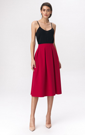 Flared red skirt midi