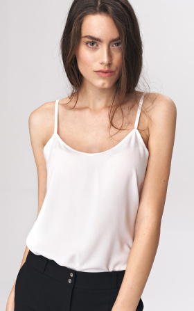 Smooth top with straps - ecru
