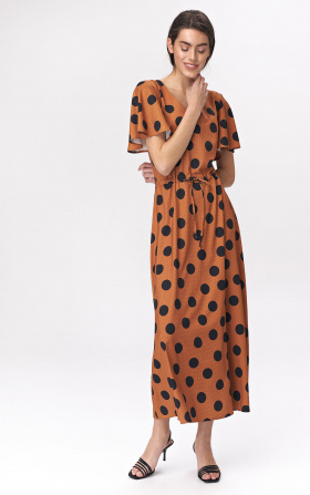 Caramel maxi dress with flared sleeves -  peas pattern