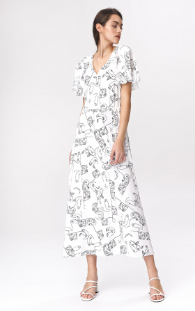 Light maxi dress with flared sleeves - faces pattern