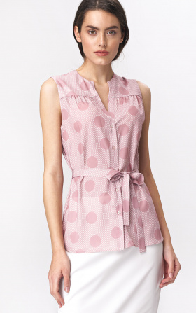 Pinky sleeveless blouse - peas pattern