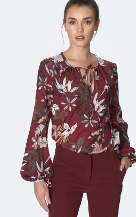 Claret blouse with tie on the neckline with flowers pattern